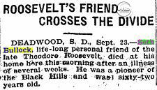 Newspaper Clipping announcing Seth Bullock's death